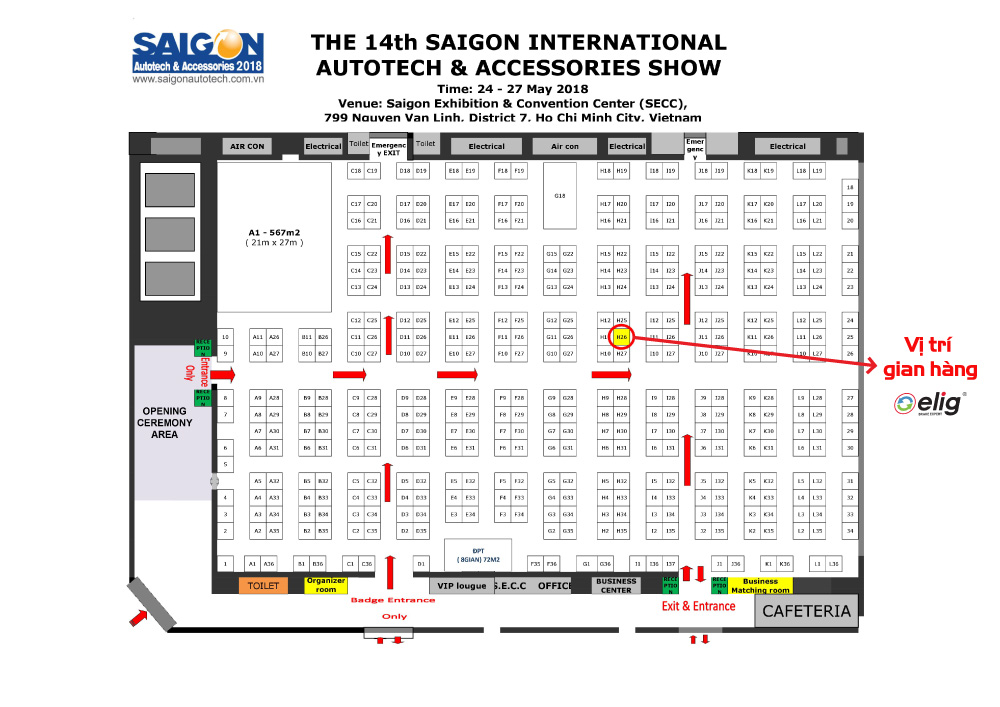 Vị trí gian hàng Elig tại hội chợ triển lãm quốc tế lần thứ 14